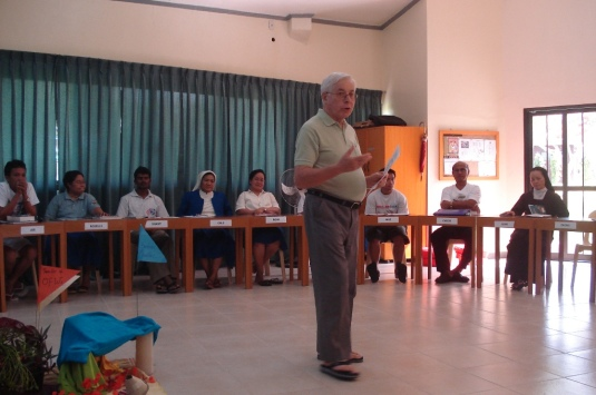 Fr. Giulio is introducing the speaker- Dr. Jose de Mesa
