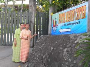 Sisters Dom & Jerome, from Myanmar, welcome visitors to the Center!