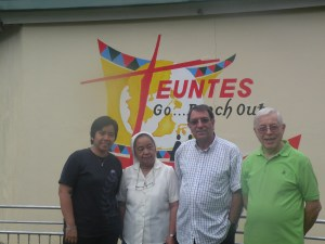 The Euntes Staff: (from left Ting Mapeso - Liturgy & comm Animator, Sr. Stella - Program Coordinator, Fr. Angel Calvo - Pastoral Consultant & Fr. Giulio Mariani, the director